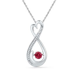 0.30 CTW Created Ruby Moving Twinkle Solitaire Infinity Pendant 10KT White Gold - REF-14H9M