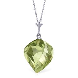 Genuine 13 ctw Green Amethyst Necklace Jewelry 14KT White Gold - REF-28M2T