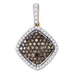 0.50 CTW Cognac-brown Color Diamond Square Cluster Pendant 10KT Yellow Gold - REF-30W2K