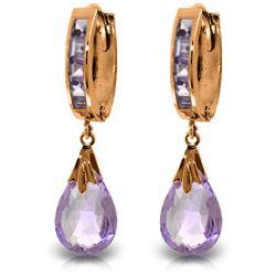 Genuine 6.85 ctw Amethyst Earrings Jewelry 14KT Rose Gold - REF-49H6X