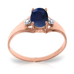 Genuine 1.26 ctw Sapphire & Diamond Ring Jewelry 14KT Rose Gold - REF-26M2T