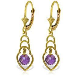Genuine 1.25 ctw Amethyst Earrings Jewelry 14KT Yellow Gold - REF-25V6W
