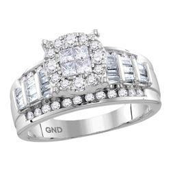 0.99 CTW Princess Diamond Soleil Cluster Bridal Engagement Ring 10KT White Gold - REF-82W4K