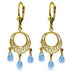 Genuine 3.75 ctw Blue Topaz Earrings Jewelry 14KT Yellow Gold - REF-43P8H