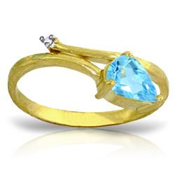 Genuine 0.83 ctw Blue Topaz & Diamond Ring Jewelry 14KT Yellow Gold - REF-40F5Z