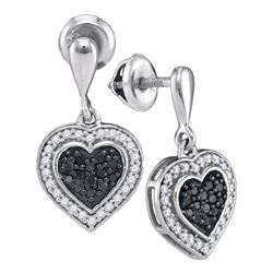 0.50 CTW Black Color Diamond Heart Dangle Earrings 10KT White Gold - REF-30N2F