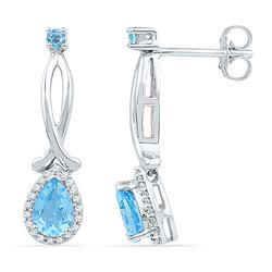 1.12 CTW Pear Created Blue Topaz Diamond Dangle Earrings 10KT White Gold - REF-20M9H