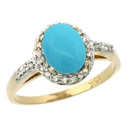 Natural 1.3 ctw Turquoise & Diamond Engagement Ring 10K Yellow Gold - REF-27K9R