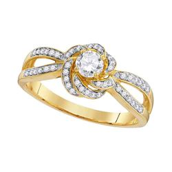 0.43 CTW Diamond Solitaire Bridal Engagement Ring 10KT Yellow Gold - REF-53W9K