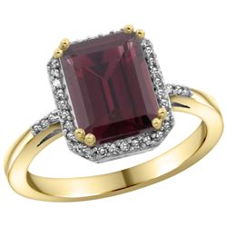 Natural 2.63 ctw Rhodolite & Diamond Engagement Ring 10K Yellow Gold - REF-32K7R