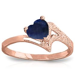 Genuine 1 ctw Sapphire Ring Jewelry 14KT Rose Gold - REF-43V2W