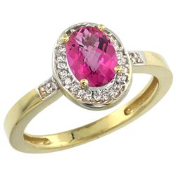 Natural 1.08 ctw Pink-topaz & Diamond Engagement Ring 14K Yellow Gold - REF-31G3M