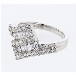 1.02 CTW Diamond Ring 18K White Gold - REF-110R3K