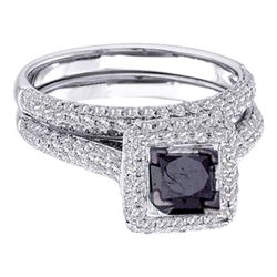 1.25 CTW Princess Black Color Diamond Bridal Ring 14KT White Gold - REF-85K4W