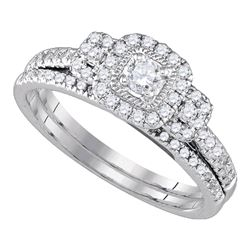 0.50 CTW Diamond Bridal Wedding Engagement Ring 14KT White Gold - REF-59Y9X