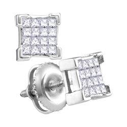 0.29 CTW Princess Diamond Square Cluster Screwback Earrings 10KT White Gold - REF-22M4H