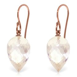 Genuine 24.5 ctw White Topaz Earrings Jewelry 14KT Rose Gold - REF-40M5T