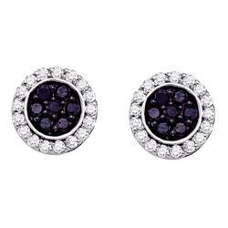 1 CTW Black Color Diamond Circle Cluster Earrings 10KT White Gold - REF-44K9W