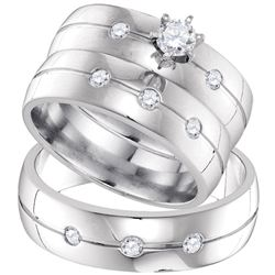 0.50 CTW His & Hers Diamond Solitaire Matching Bridal Ring 10KT White Gold - REF-104M9H