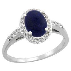 Natural 1.13 ctw Lapis & Diamond Engagement Ring 10K White Gold - REF-24K6R