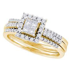 0.50 CTW Princess Diamond 3-Piece Halo Bridal Engagement Ring 14KT Yellow Gold - REF-79M4H