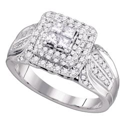 0.75 CTW Princess Diamond Cluster Bridal Engagement Ring 14KT White Gold - REF-101Y9X