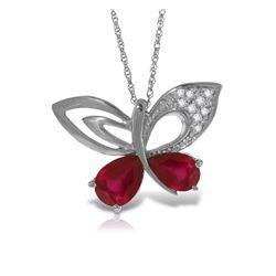 Genuine 4.38 ctw Ruby & Diamond Necklace Jewelry 14KT White Gold - REF-132K2V