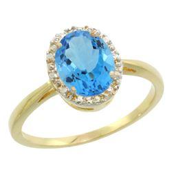 Natural 1.22 ctw Swiss-blue-topaz & Diamond Engagement Ring 14K Yellow Gold - REF-27M2H