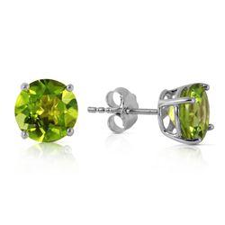 Genuine 3.1 ctw Peridot Earrings Jewelry 14KT White Gold - REF-23Z9N