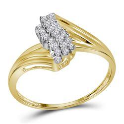 0.16 CTW Prong-set Diamond Cluster Ring 10KT Yellow Gold - REF-13W4K