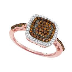 0.32 CTW Red Color Diamond Square Ring 10KT Rose Gold - REF-26W3K