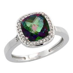 Natural 3.94 ctw Mystic-topaz & Diamond Engagement Ring 14K White Gold - REF-38Y3X