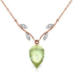 Genuine 9.52 ctw Green Amethyst & Diamond Necklace Jewelry 14KT Rose Gold - REF-36R3P