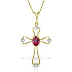 Genuine 0.57 ctw Pink Topaz & Diamond Necklace Jewelry 14KT Yellow Gold - REF-40F8Z