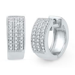 0.25 CTW Diamond Huggie Hoop Earrings 10KT White Gold - REF-37W5K