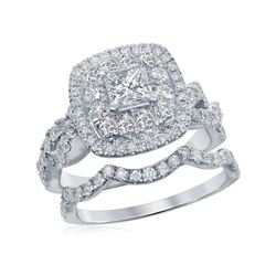 1.98 CTW Princess Diamond Bridal Engagement Ring 14KT White Gold - REF-285W2K