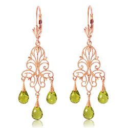 Genuine 3.75 ctw Peridot Earrings Jewelry 14KT Rose Gold - REF-46X7M