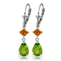 Genuine 4.5 ctw Peridot & Citrine Earrings Jewelry 14KT White Gold - REF-41W4Y