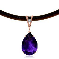 Genuine 6.01 ctw Amethyst & Diamond Necklace Jewelry 14KT Rose Gold - REF-32M3T