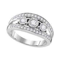 0.50 CTW Diamond 3-stone Bridal Engagement Ring 10KT White Gold - REF-64K4W
