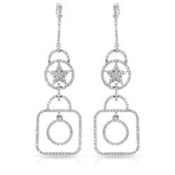 0.94 CTW Diamond Earrings 14K White Gold - REF-57F7N