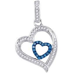 0.16 CTW Blue Color Diamond Nested Heart Pendant 10KT White Gold - REF-18W2K