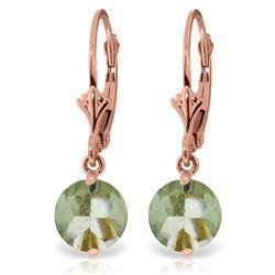 Genuine 3.1 ctw Green Amethyst Earrings Jewelry 14KT Rose Gold - REF-34R3P