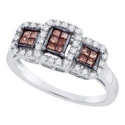 0.41 CTW Princess Cognac-brown Color Diamond Ring 14KT White Gold - REF-49W5K