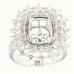 1.72 CTW Diamond Semi Mount Ring 14K White Gold - REF-178X3R