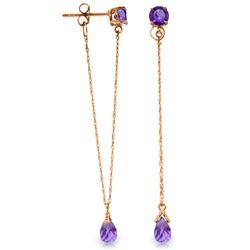 Genuine 3.15 ctw Amethyst Earrings Jewelry 14KT Rose Gold - REF-22X3M