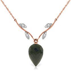 Genuine 12.27 ctw Black Spinel & Diamond Necklace Jewelry 14KT Rose Gold - REF-35A2K