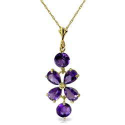 Genuine 3.15 ctw Amethyst Necklace Jewelry 14KT Yellow Gold - REF-30T3A