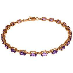 Genuine 5.5 ctw Amethyst Bracelet Jewelry 14KT Rose Gold - REF-96M4T