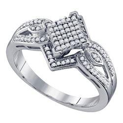 0.25 CTW Diamond Diagonal Square Cluster Ring 10KT White Gold - REF-30F2N